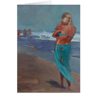 'Sleep Walking'- Mother Walking Baby on the Beach Card