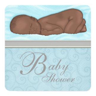 Sleeping Baby Boy Blue Gray Baby Shower Card