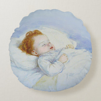 Sleeping Baby Boy Round Pillow