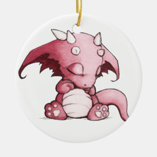 sleeping baby dragon ceramic ornament
