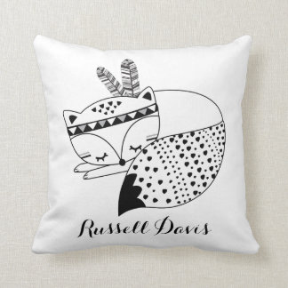 Sleeping Baby Fox Tribal Woodland Forest Nursery Throw Pillow