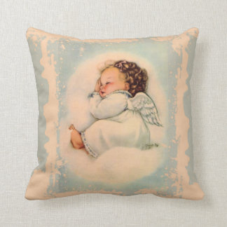 Sleeping Baby Guardian Angel Blue Peach Throw Pillow