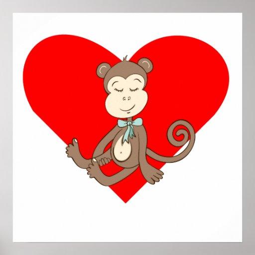 Sleeping Baby Monkey Heart Print