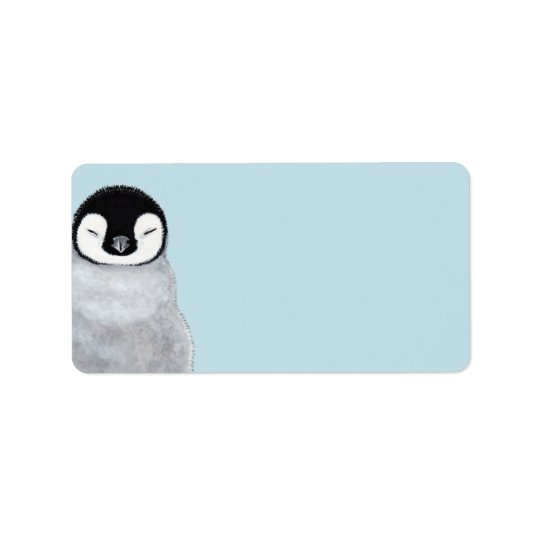 Sleeping Baby Penguin Chick Blank Label