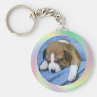Sleeping Basenji puppy Keychain