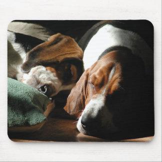 sleeping basset hounds mouse pad