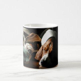 sleeping basset hounds mug