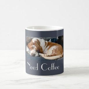 "Sleeping Basset On Cute ""Need Coffee"" Mug"