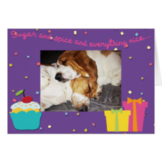 Sleeping Bassets on cute Birthday Card