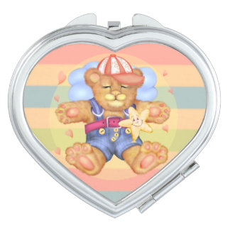 SLEEPING BEAR BABY CARTOON compact mirror HEART