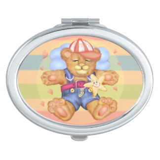 SLEEPING BEAR BABY CARTOON compact mirror OVAL