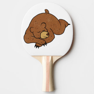 sleeping bear cartoon Ping-Pong paddle