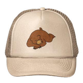 sleeping bear cartoon trucker hat