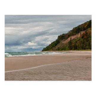 Sleeping bear dunes beach postcard