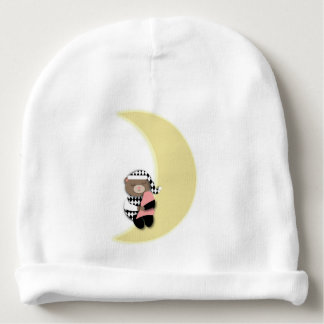Sleeping Bear on Crescent Moon Baby Beanie