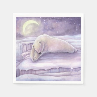 Sleeping Bear Polar Bear Winter Christmas Holiday Disposable Napkin