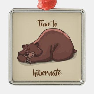 Sleeping Bear// Time To Hibernate Metal Ornament