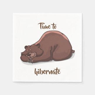 Sleeping Bear// Time To Hibernate Paper Napkin