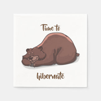 Sleeping Bear// Time To Hibernate Paper Napkins