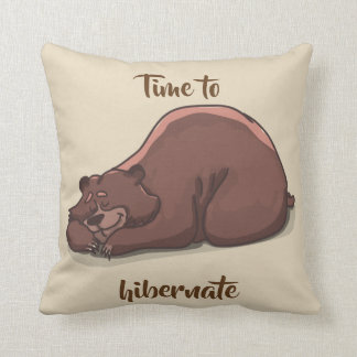 Sleeping Bear// Time To Hibernate Throw Pillow
