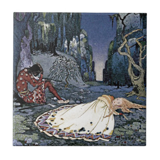 Sleeping Beauty Princess Vintage French Illustrati Tile