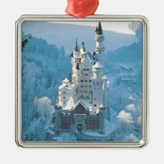 Sleeping Beauty's Castle Silver-Colored Square Ornament