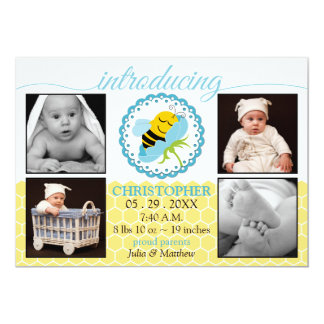 Sleeping Bee Baby Boy Photo Birth Announcement