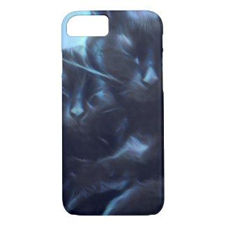 Sleeping black cats, blue / black iPhone 7 case