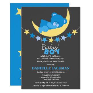 Sleeping Blue Boy Teddy Bear on Moon Baby Shower Card
