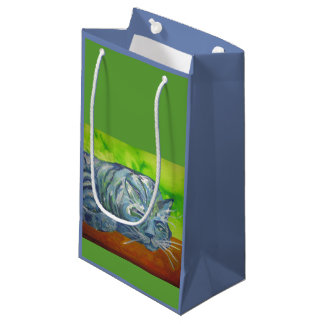 sleeping blue cat gift bag