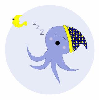 Sleeping Blue Octopus Standing Photo Sculpture