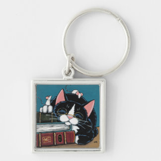 Sleeping Bookworm Tuxedo Cat and Mice Painting Keychain