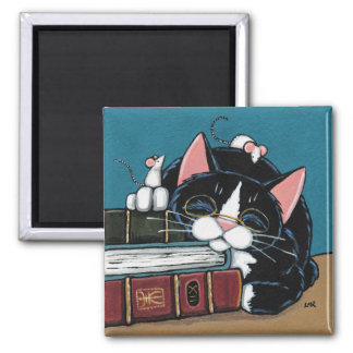 Sleeping Bookworm Tuxedo Cat and Mice Painting Square Magnet