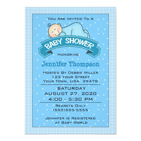 Sleeping Boy Baby Shower Invitation