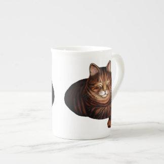 Sleeping Brown Tabby Cat Bone China Mug