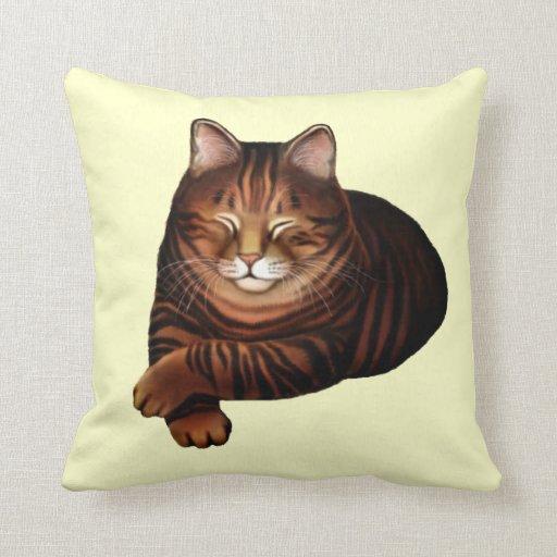 Sleeping Brown Tabby Cat Pillow