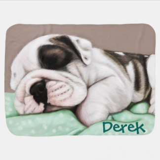 Sleeping Bulldog Puppy Baby Blanket