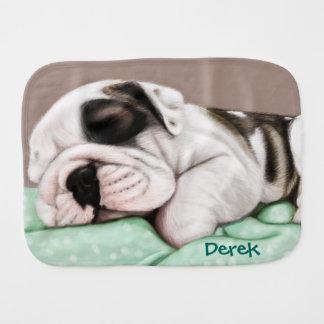 Sleeping Bulldog Puppy Burp Cloth