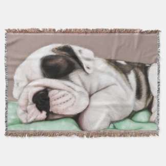Sleeping Bulldog Puppy Throw Blanket