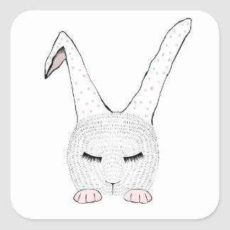 Sleeping Bunnie Square Sticker