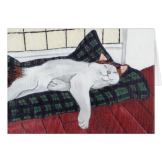Sleeping Calico Cat Notecard