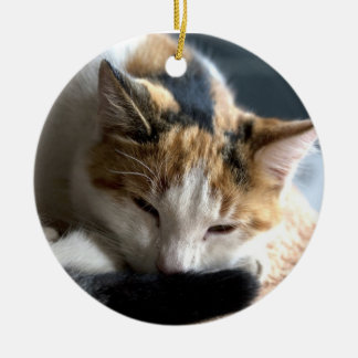 Sleeping Calico Ceramic Ornament