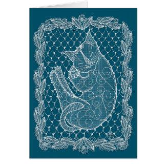 Sleeping Cat Lace Doily (ocean blue, blank) Card