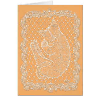 Sleeping Cat Lace Doily (Sunflower, blank) Card