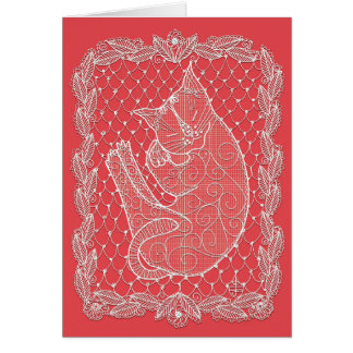 Sleeping Cat Lace Doily (watermelon color, blank) Card