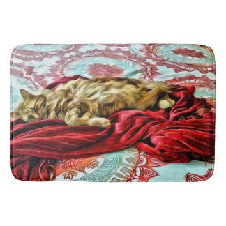 Sleeping Cat on a Blanket Bath Mat