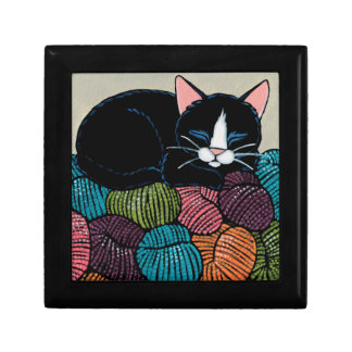 Sleeping Cat on Mountain of Yarn Illustration Trinket Box