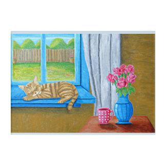 sleeping cat on window acrylic print