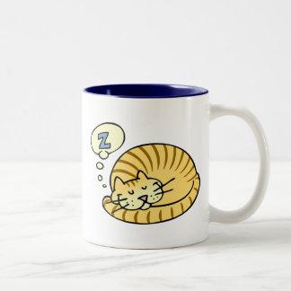 Sleeping Cat Two-Tone Coffee Mug