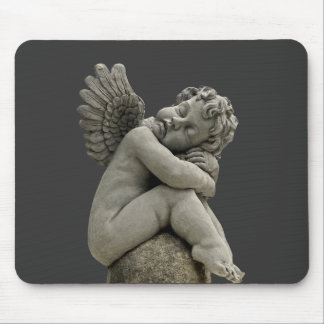 Sleeping Cherub Angel Sculpture Mousepad. Mouse Pad